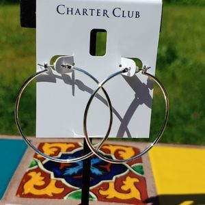 Charter Club large silvertone hoops